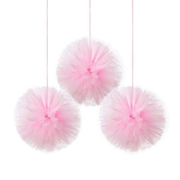 Ροζ fluffy Pom Pom (3 τεμ)