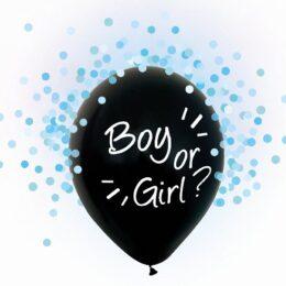Σετ μαύρα μπαλόνια Boy or Girl με γαλάζιο κομφετί