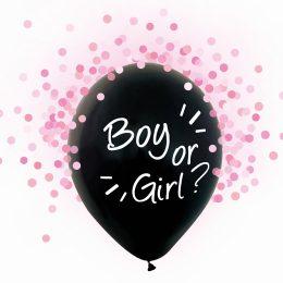 Σετ μαύρα μπαλόνια Boy or Girl με ροζ κομφετί