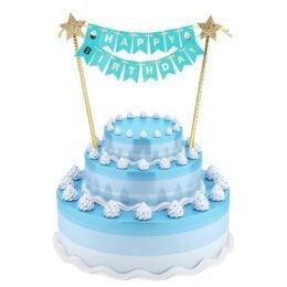 Τόπερ τούρτας Happy Birthday γαλάζιο