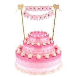 Τόπερ τούρτας Happy Birthday ροζ