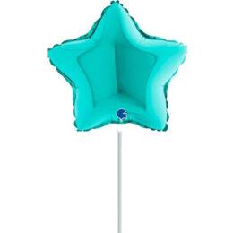 "10"" Mini Shape μπαλόνι Τυρκουάζ Αστέρι"