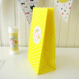 Κίτρινο πουά σακουλάκι για δώρο