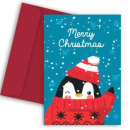 Χριστουγεννιάτικη Κάρτα Πιγκουινάκι