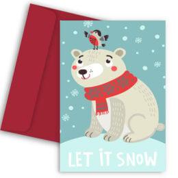 Χριστουγεννιάτικη Κάρτα Πολικό Αρκουδάκι