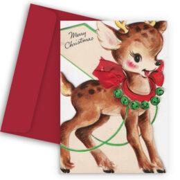 Χριστουγεννιάτικη Κάρτα Vintage Ελαφάκι